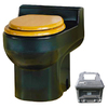 Santerra Green Black 0.8-GPF (3.03-LPF) 4-in Rough-in Round Composting Standard Height Rear Outlet Toilet