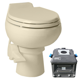 Santerra Green Bone 0.8-GPF 4-in Rough-in Round 2-Piece Standard Height Toilet Z90-110V-BONE