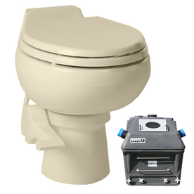 Santerra Green Bone 0.8-GPF 4-in Rough-in Round 2-Piece Standard Height Toilet Z80-12V-BONE