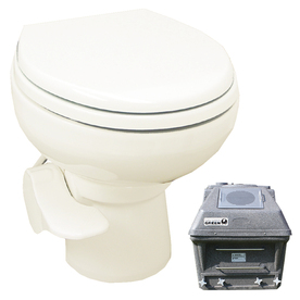 Santerra Green Bone 0.8-GPF 4-in Rough-in Round Pressure Assist 2-Piece Standard Height Toilet V300-110V-BONE