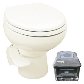 Santerra Green Bone 0.8-GPF 4-in Rough-in Round Pressure Assist 2-Piece Standard Height Toilet V320-12V-BONE