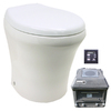 Santerra Green White 0.8-GPF (3.03-LPF) 4-in Rough-in Round Pressure Assist Composting Standard Height Rear Outlet Toilet
