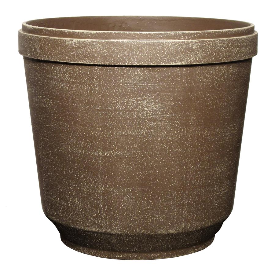 allen + roth 12 in H x 13 in W x 13 in D Driftwood Plastic Indoor/Outdoor Planter