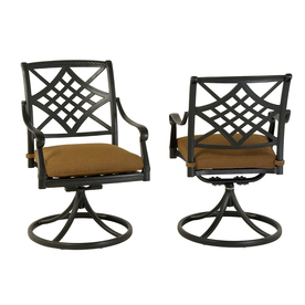allen + roth Set Of 2 Whitley Place Burnished Black/Powder-Coated Aluminum Swivel Rocker Patio Dining Chair