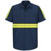 Red Kap Men's Medium Navy with Yellow/Green Reflective Trim Poplin Polyester Blend Short Sleeve Uniform Work Shirt