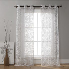 Shop Duck River Textile 84 In L Light Filtering Floral White Grommet Window Curtain Panel At