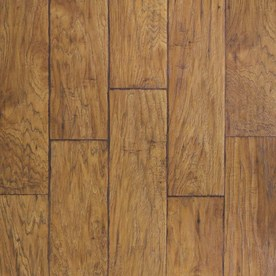 allen + roth Laminate 6-1/8-in W x 54-3/8-in L Handscraped Saddle Hickory Laminate Flooring