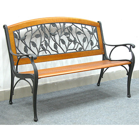 Garden Treasures 35-in L Steel/Iron Patio Bench