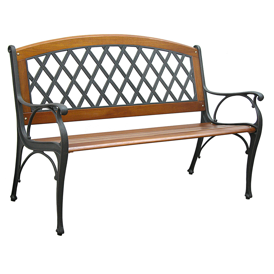 Shop Garden Treasures 25 In L Steel Iron Patio Bench At