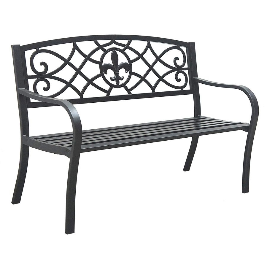 Shop Garden Treasures L Steel Iron Patio Bench At
