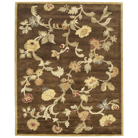 Bashian Ipswich Rectangular Brown Floral Tufted Wool Area Rug (Common: 6-ft x 9-ft; Actual: 5.5-ft x 8.5-ft)