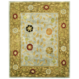 Bashian Ipswich Rectangular Aqua Floral Tufted Wool Area Rug (Common: 9-ft x 12-ft; Actual: 8.5-ft x 11.5-ft)