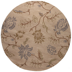 Bashian Stockport 8-ft Round Beige Floral Area Rug
