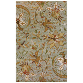 Bashian Stockport 5-ft x 8-ft Rectangular Green Floral Area Rug