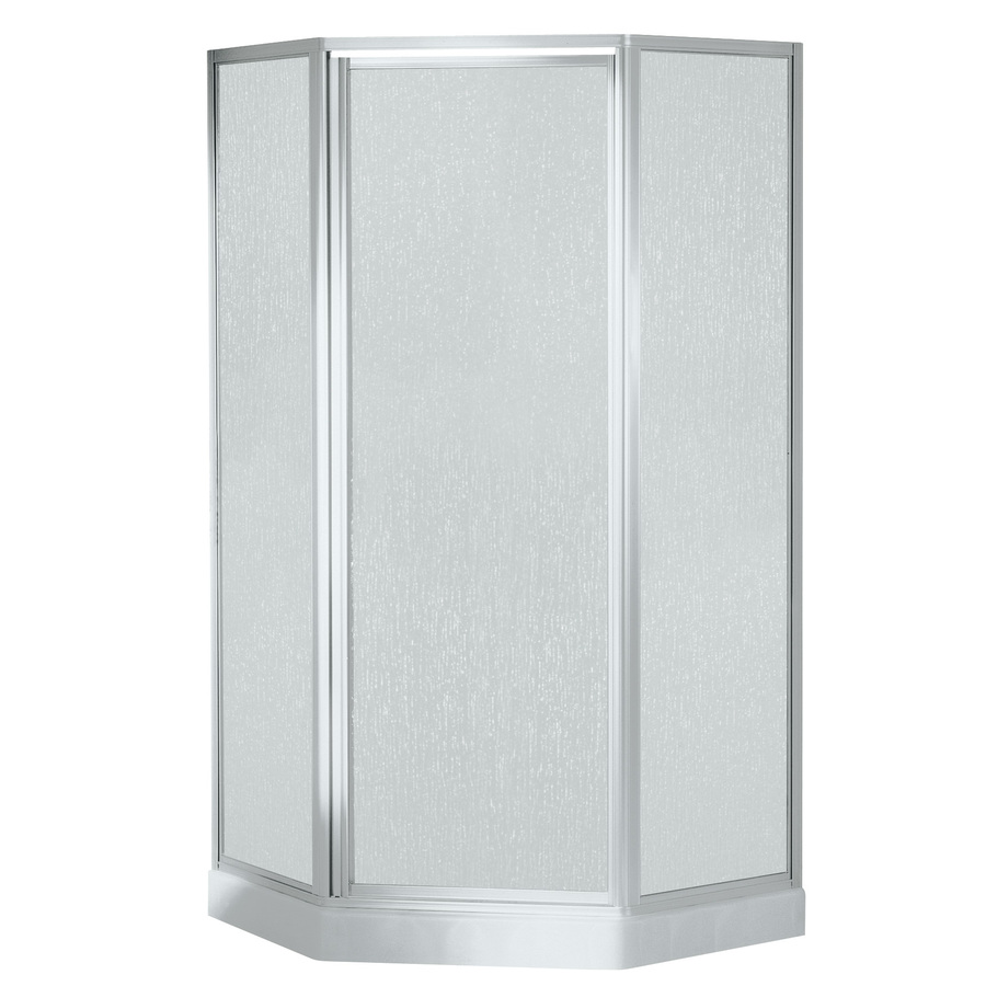 Shop Sterling White Fiberglass Wall And Floor Neo Angle 5 Piece Corner Shower