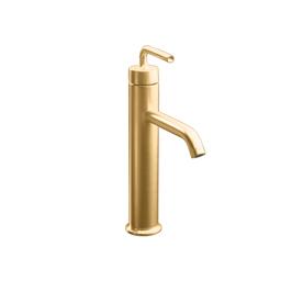 KOHLER Purist Vibrant Brushed Bronze 1-Handle Single Hole WaterSense Bathroom Faucet (Drain Included)
