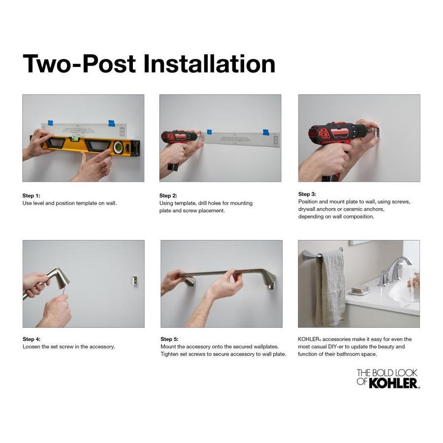 "Kohler 11370-CP Sculpted Forte Collection 18/"" Towel Bar in Polished Chrome"