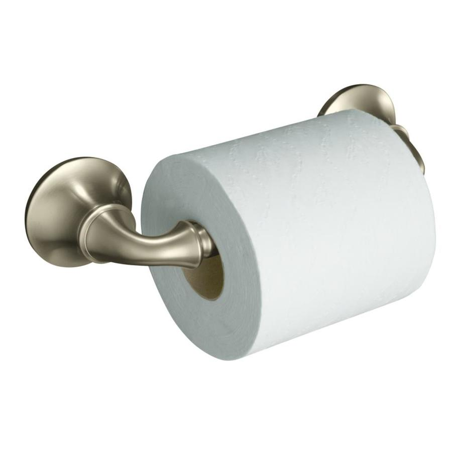Shop KOHLER Forte Vibrant Brushed Nickel Surface Mount Toilet Paper ...