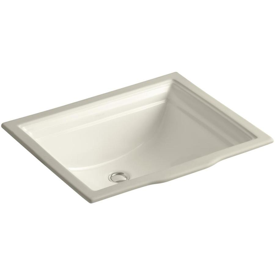 Sink Undermount : Shop KOHLER Memoirs Almond Undermount Rectangular Bathroom Sink with ...