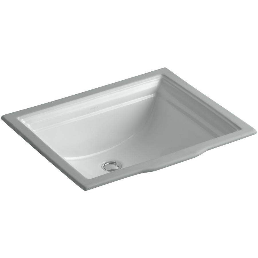 Shop Kohler Memoirs Ice Grey Undermount Rectangular Bathroom Sink With Overflow At