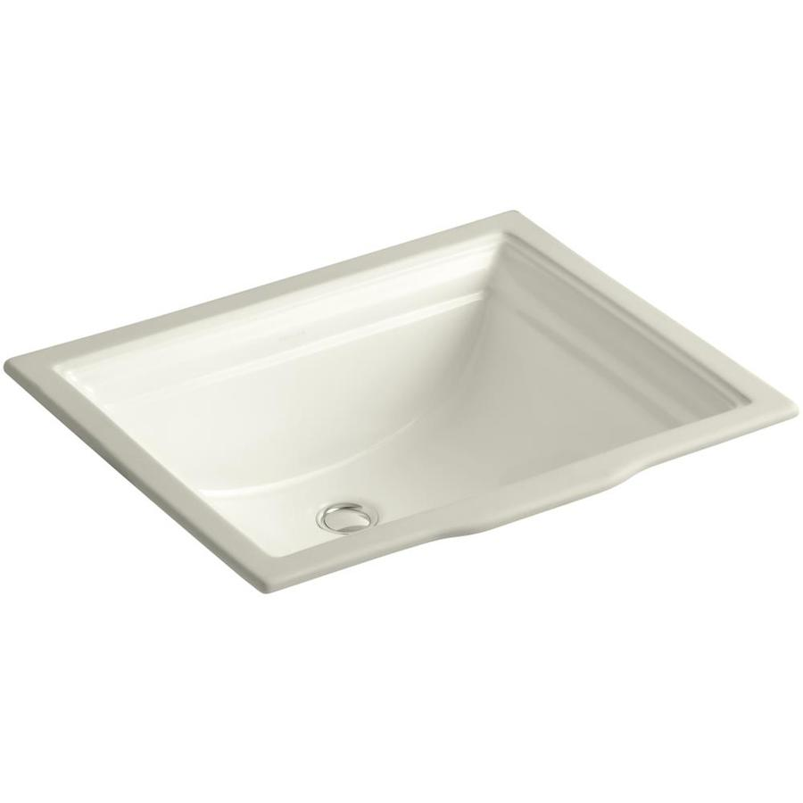 Shop KOHLER Memoirs Biscuit Undermount Rectangular Bathroom Sink with ...