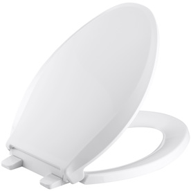 KOHLER Cachet White Plastic Elongated Slow-Close Toilet Seat 4636-0