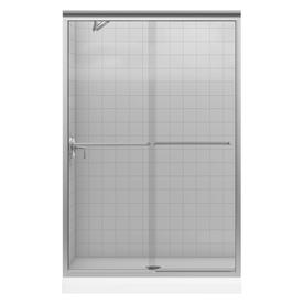 KOHLER 47-5/8-in W x 70-3/8-in H Brushed Nickel Frameless Sliding Shower Door