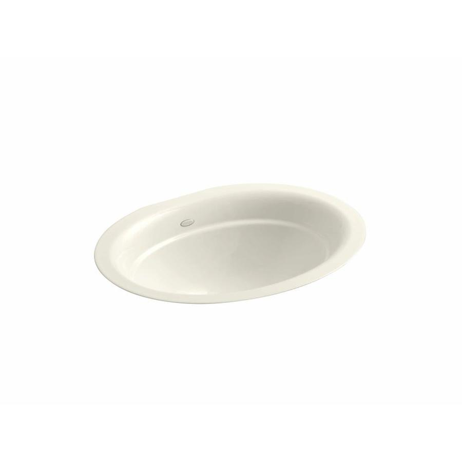 Shop KOHLER Serif Biscuit Cast Iron Undermount Oval Bathroom Sink At
