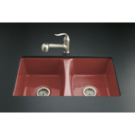 Red Kitchen Sink : ... Red 5-Hole Double-Basin Cast Iron Undermount Kitchen Sink at Lowes.com