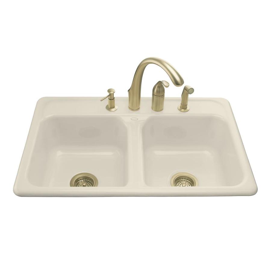... 33-in Almond Double-Basin Cast Iron Drop-in Kitchen Sink at Lowes.com