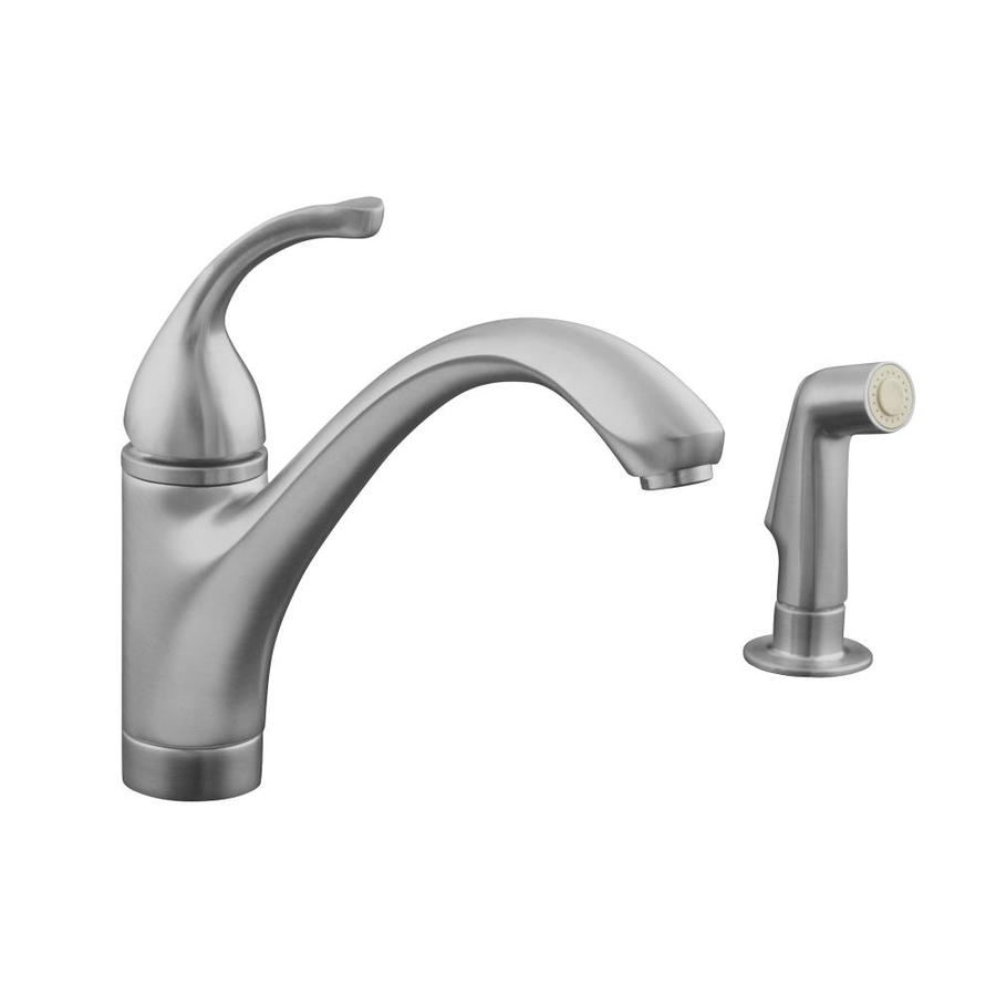 Shop KOHLER Forte Vibrant Stainless 1-Handle Low-Arc Kitchen Faucet ...