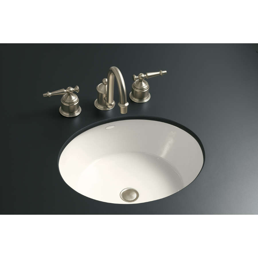 Shop Kohler Iron Flute Biscuit Cast Iron Undermount Round Bathroom Sink At