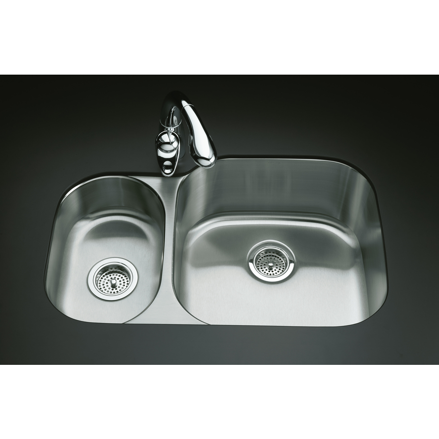 KOHLER Undertone Stainless Steel Double-Basin Undermount Kitchen Sink ...