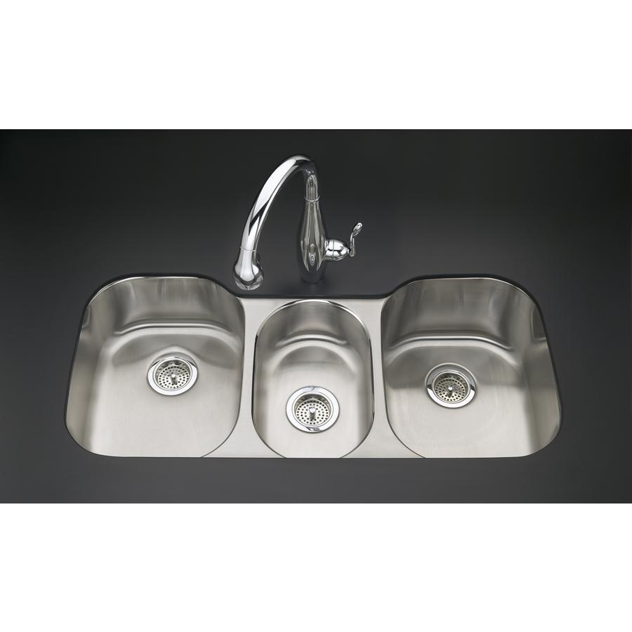 Kohler Undertone Sink : Shop KOHLER Undertone 18-Gauge Triple-Basin Undermount Stainless Steel ...