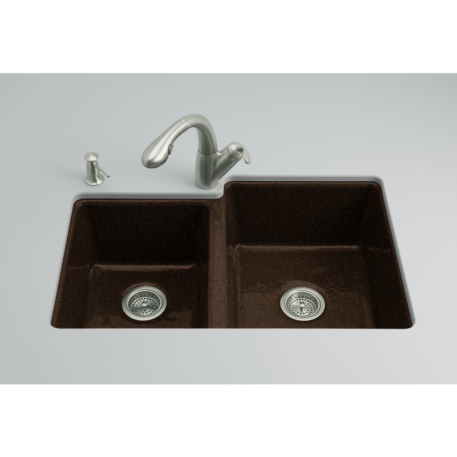 Shop Kohler Clarity 22 In X 33 In Black 39 N Tan Double Basin