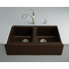 KOHLER Hawthorne 22.125-in x 33-in Double-Basin Cast Iron Undermount 4-Hole Commercial/Residential Kitchen Sink