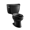 KOHLER Wellworth Black Black 1.6-GPF (6.06-LPF) 12 Rough-In Elongated Pressure Assist 2-Piece Comfort Height Toilet