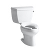 KOHLER Wellworth White 1.6-GPF (6.06-LPF) 12 Rough-In Elongated Pressure Assist 2-Piece Standard Height Toilet