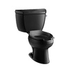 KOHLER Wellworth Black Black 1.6-GPF (6.06-LPF) 12 Rough-In Elongated Pressure Assist 2-Piece Standard Height Toilet