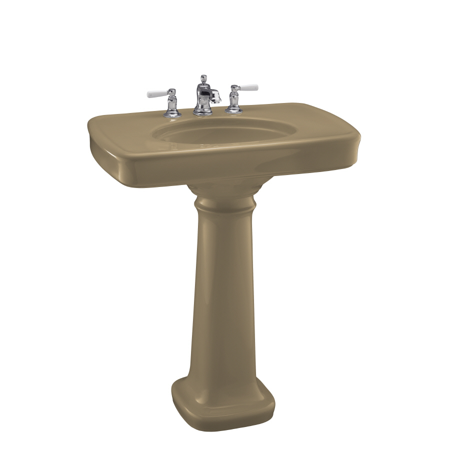 Bancroft 35.25-in H Mexican Sand Fire Clay Complete Pedestal Sink ...