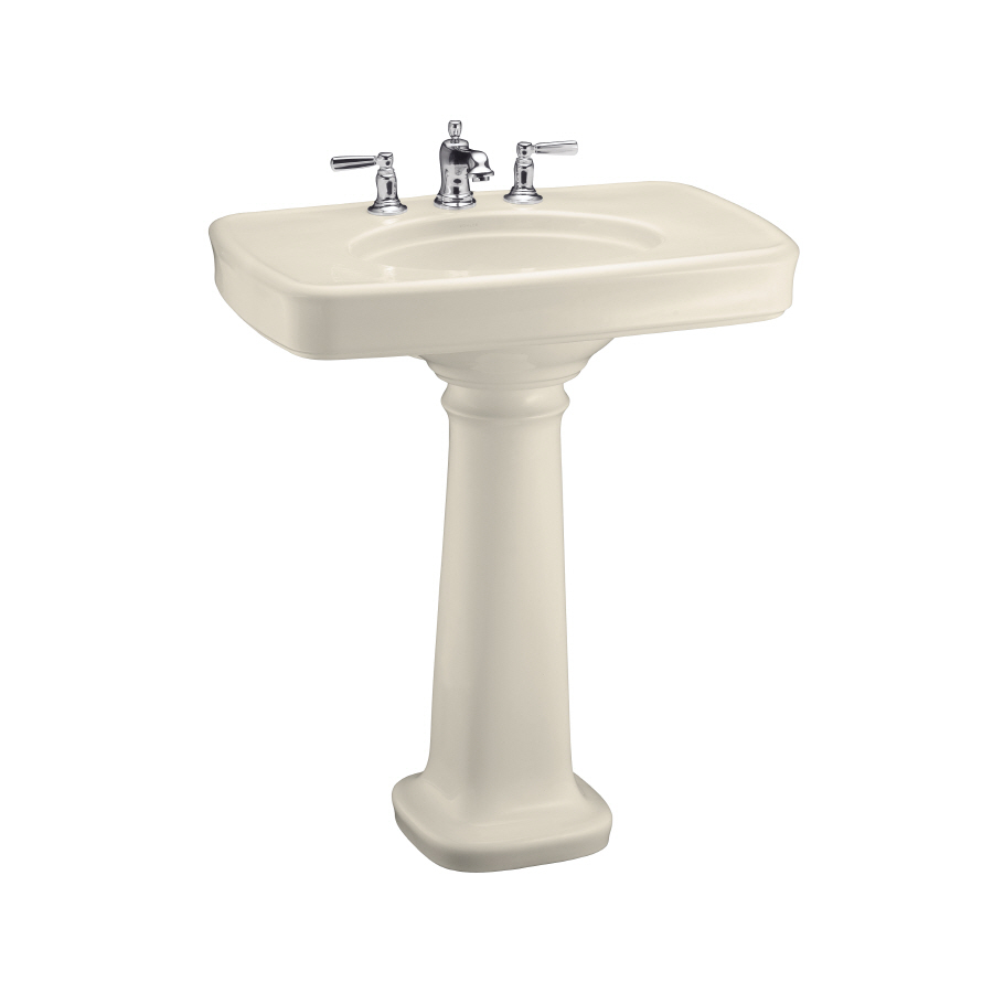 KOHLER Bancroft 35.25-in H Almond Fire Clay Complete Pedestal Sink ...