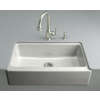 KOHLER Dickinson 22.125-in x 33-in Single-Basin Cast Iron Undermount 4-Hole Commercial/Residential Kitchen Sink