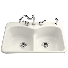KOHLER Langlade Double-Basin Drop-in Enameled Cast Iron Kitchen Sink