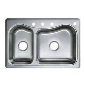 Kohler Staccato Sink : KOHLER Staccato 22-in x 33-in Stainless Steel Double-Basin Drop-In 4 ...