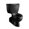 KOHLER Barrington Black Black 1.6-GPF (6.06-LPF) 4 Rough-In Elongated Pressure Assist 2-Piece Comfort Height Toilet