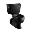 KOHLER Barrington Black Black 1.6-GPF (6.06-LPF) 4 Rough-In Elongated Pressure Assist 2-Piece Comfort Height Toilet
