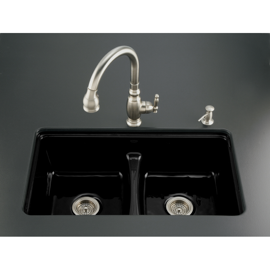 Black Double Sink Kitchen : Black Black 7-Hole Double-Basin Cast Iron Undermount Kitchen Sink ...