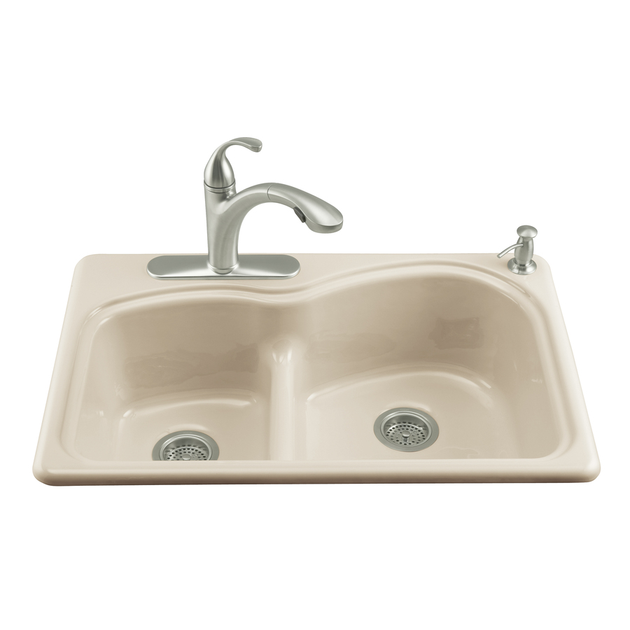 KOHLER Woodfield Double-Basin Drop-in Enameled Cast Iron Kitchen Sink ...