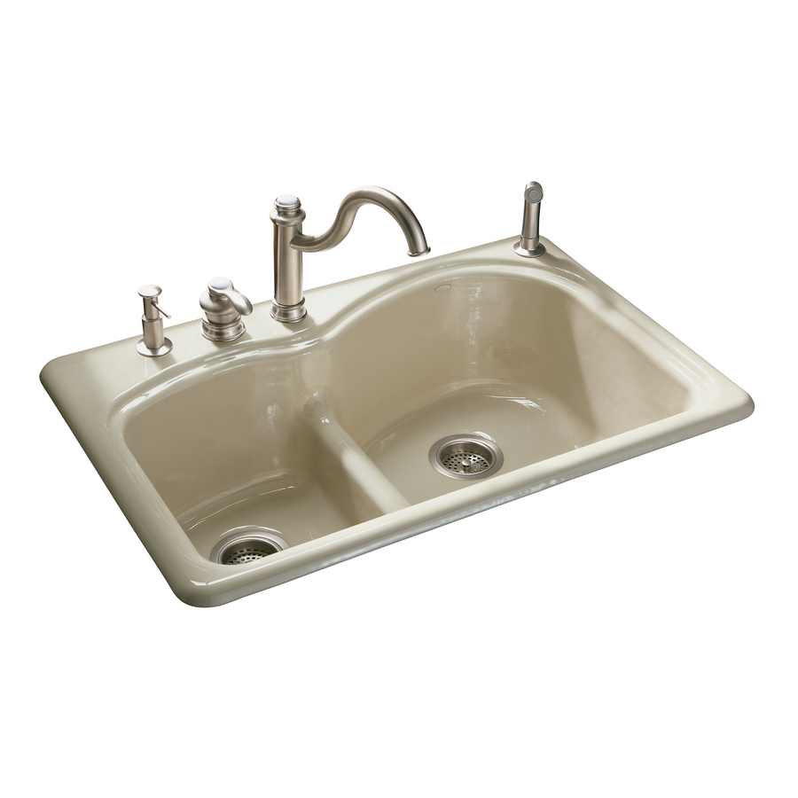 Cast Iron Sink : ... Double-Basin Drop-in Enameled Cast Iron Kitchen Sink at Lowes.com