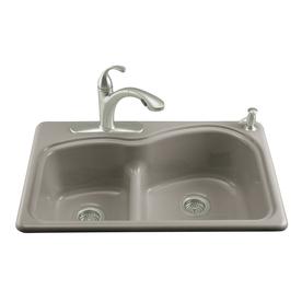 kohler woodfield double basin drop in enameled cast iron kitchen sink